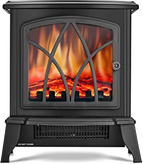 Infrared Space Heater - Electric Fireplace Heater with 3D Flame Effect, 2 Heat Modes, 1500W Ultra Strong Power, Adjustable Flame Brightness, Overheat Protection, Free Standing Fireplace Stove Heater
