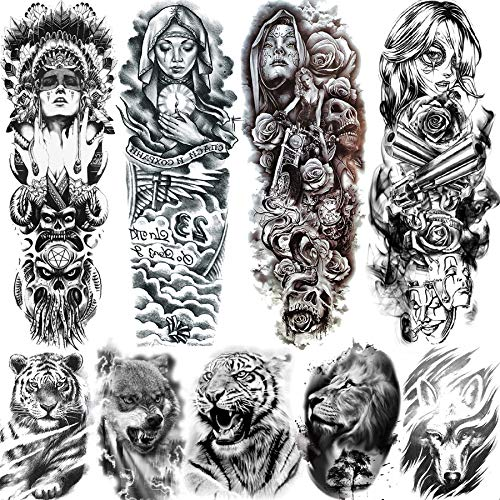 Rejaski 9 Sheets Full Arm Nun Girl Temporary Tattoos For Women Men Black Indian Tribal Warrior Wolf Lion Tiger Tatoo Paper Pray Skull Body Art Old School Punk Waterproof Fake Tattoo Sleeves Stickers