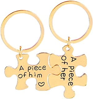 Aooaz Key Chain Pieces Puzzle Piece Engraved A Peice of Him/Her Mens Keychain Gift