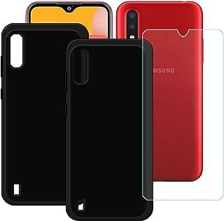 TTJ [2 st svart fodral för Samsung Galaxy M01S HD pansarglas, mobiltelefonfodral silikon skyddande skydd TPU fodral mobilv...