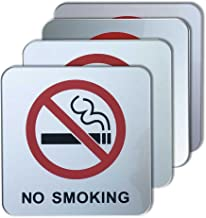 dealzEpic - No Smoking Sign | Self Adhesive Acrylic Sign - 3.95x3.95 inches | Set of 4 pcs