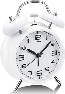 TeaRoo Dubbel klockväckarklocka med nattlampa, retro barnväckarklocka analog med stor urtavla på 10 cm inget tickande ljud...