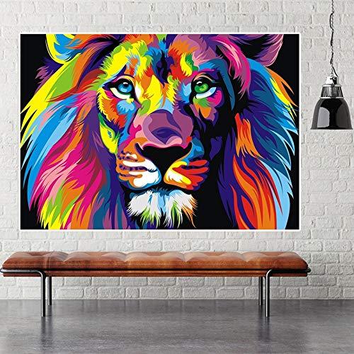Abstract aquarel wilde leeuw kroon poster en afdrukken dier olieverfschilderij canvas muurkunst afbeelding woonkamer kinderkamer decoratie zonder lijst schilderij