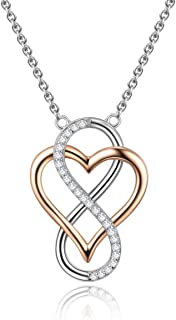 Sterling Silver Two-Tone Infinity Heart Pendant Necklace for Women