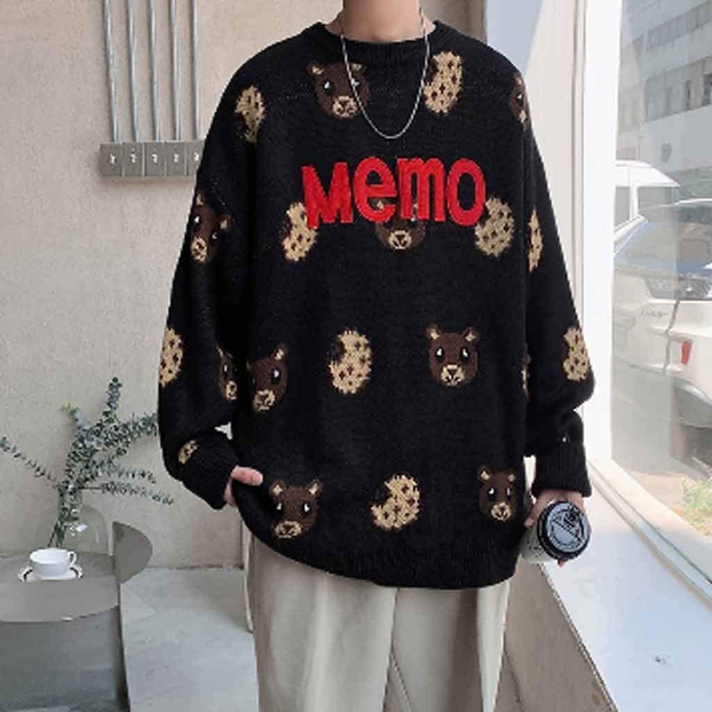 ZYING Bear Printed Plus Size Men Knitwear 2020 Autumn New Men's Neck Cartoon Sweaters Man Casual Korean Pullovers Clothes (Color : A, Size : XL Code)