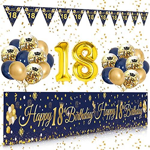 Palloncini 18 anni Compleanno Striscione Navy Blu Oro, Compleanno Decorazioni Striscione Sfondo 18 anni, Compleanno 18 anni Addobbi, 18 anni Decorazioni Compleanno kit Feste per Ragazzo e Ragazza