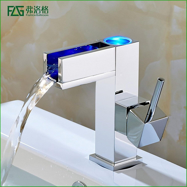 WasserhahnTap All copper LED bathroom basin temperature control control control three-color faucet bathroom vanity basin hot and cold faucet 1d5506