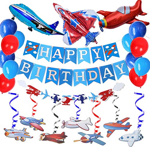 Airplane Aviator Themed Party Decoration-Silver Glitter Happy Birthday Banner and Garland,30Ct Airplanes Hanging Swirl,Airplane Foil Balloons for Up Up and Away Felt Party, Plane Theme Birthday Party.