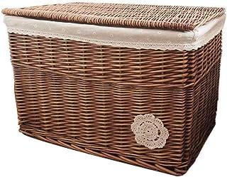 Boîtier avancé de panier en osier avec doublure blanche Boîte de rangement traditionnel Boîte de rangement avec un couverc...