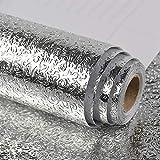 Veelike aluminio efecto papel pintado cocina papel pared aluminio autoadhesivo papel de pared vinilo efecto acero inoxidable lavable impermeable a prueba aceite para muebles 40cm x 300cm