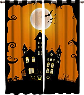OUR WINGS Window Panel Curtains Set of 2 Panels,Home Decor Curtains for Living Room,Bedroom,Halloween Grommet Top Drapes 52