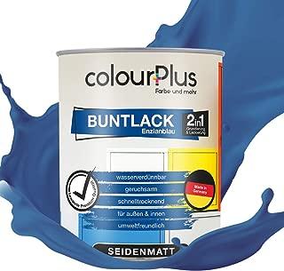 colourPlus 2in1 Buntlack 750ml, RAL 5010 Enzianblau seidenmatter Acryllack - Lack für Kinderspielzeug - Farbe für Holz - Holzfarbe Innen - Made in Germany
