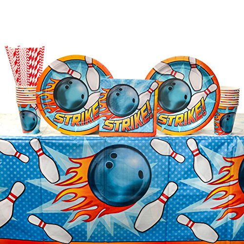 Cedar Crate Market Bundle: Bowling Birthday Party Supplies Pack for 16 Guests: Straws, Dinner Plates, Luncheon Napkins, Table Cover, and Cups