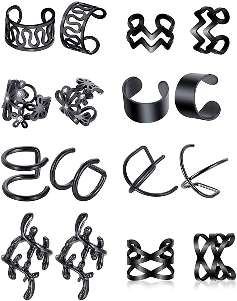 SummShine 8 Pairs Ear Cuff Non Piercing Clip On Earrings Set Fake Cartilage Earring Cuff Ring Set Surgical Steel