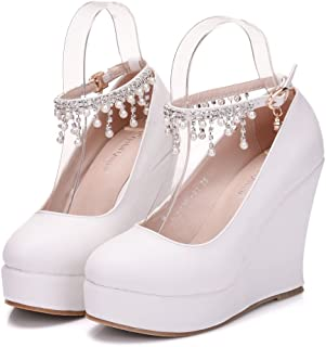 463e57cc3fe Crystal Queen White Wedges Pumps Heels Round Toe Platform Wedges Shoes with  Pearls Chain Wedding Party