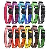 tonyg-p Breakaway Lot de 12 colliers d'identification réglables en nylon ultra doux pour chiots M-21,6-34 cm