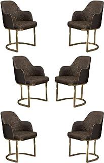 Casa Padrino Conjunto de sillas de Comedor Gris/Oro 70 x 95 x A. 96 cm - Conjunto de sillas de Cocina de 6 - Sillas de Comedor con reposabrazos - Muebles de Comedor