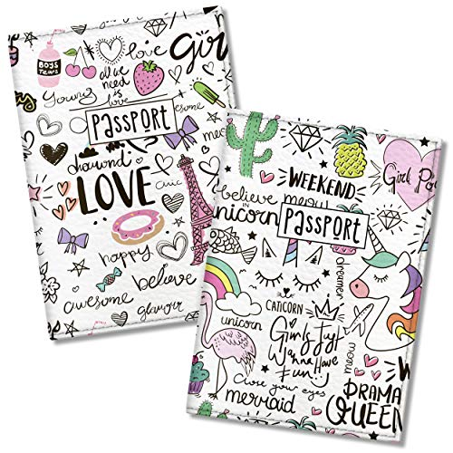 Quttie, Couple Vegan Eco Leather Passport Cover for Family (Paris Unicorn)