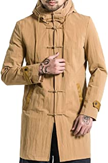 XINHEO Mens Kung Fu Thigh-Length Windproof Overcoat with Pockets