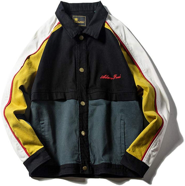 Usopu Men's color Blocking Patchwork Jacket Spring Autumn Loose