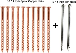 Zipcase 4 Inch (106mm) Solid Pure Copper Nails Extreme Long for Removing Trees, Stumps & Roots x 10 with 4 Inch Steel Nails x 2