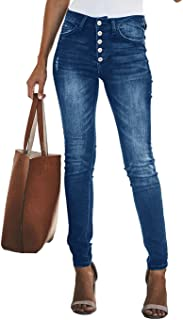 KIRUNDO Women's Skinny Jeans with Buttons Solid Color Casual Stretchy High Waisted Jeans