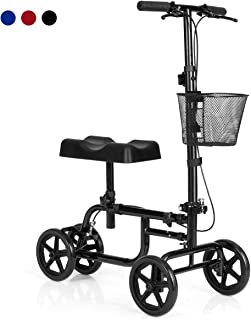 Giantex Steerable Lightweight Knee Scooter, Foldable All Terrain Knee Walker with Basket, Dual Brakes, Medical Scooter for Foot Ankle Injuries, Crutches Alternative, Support up to 300 (Black)