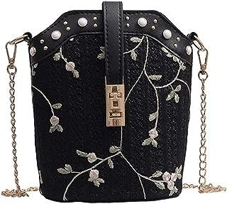 DZTZ Women Beach Lace Embroid Straw Bucket Bag Burlap Square Bag Messenger Bag