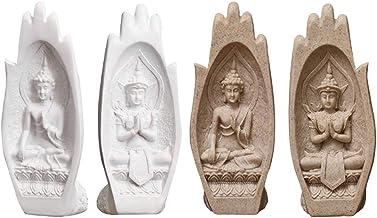 Flameer 2 Pairs Buddha Sitting in Hand Sculpture Southern Asian Thai Buddha