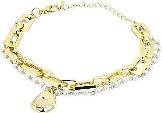 أساور ذهبية كلاسيكية ساحرة للنساء سلسلة مجوهرات مع لؤلؤ مقلد