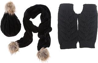Jelinda Women Girls Knitted Beanie Hat Scarf Gloves Warm Autumn Winter Thermal Set