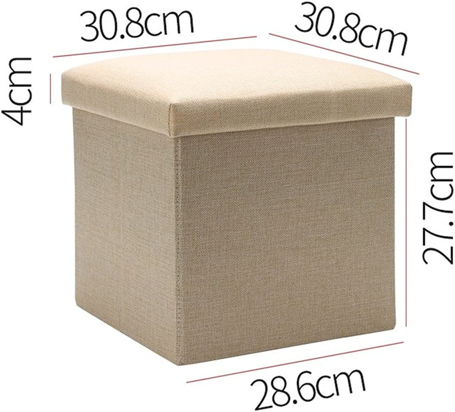 Fashion Fabric Stool,Creative Storage Stool Collection Box Portable Solid Wood shoes Change Stool for Entrance Office-Beige
