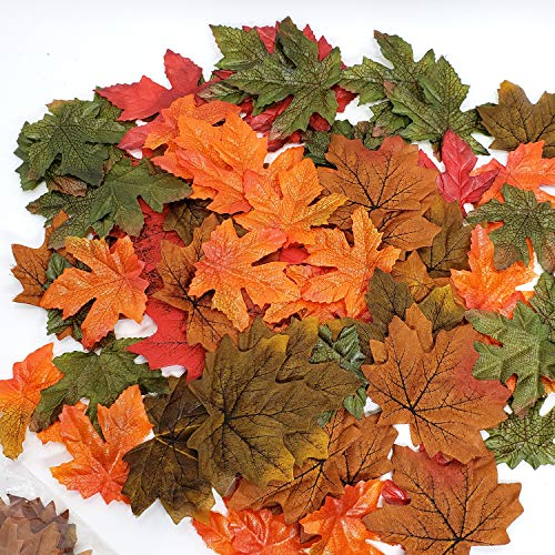 WsCrofts 240 Pcs Assorted Mixed Artificial Maple Leaves - Fall Colored Leaves for Parties Wedding, IG Events and Outdoor Maple Leaf Decor