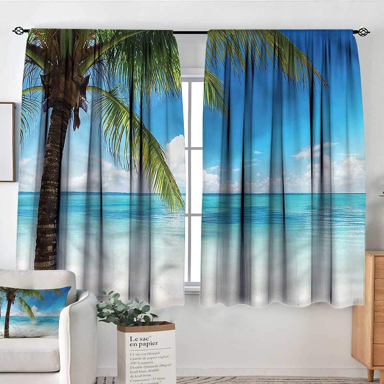 Anzhutwelve Ocean,Backout Curtain Exotic Beach Shoreline 42 X63  Patterned Drape for Kids Bedroom
