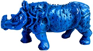 PANRODO Rhinoceros Statue Sculptures Resin Blue Office Shop Home Decoration Unique Gifts Animal Figurines