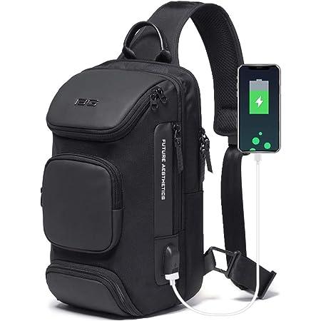 OZUKO Anti-Diebstahl Sling Bag Herren Brusttasche Umhängetaschen Crossbody-Rucksack Wasserdichte Schultertasche mit USB für Arbeit Reisen Wandern (schwarz1)