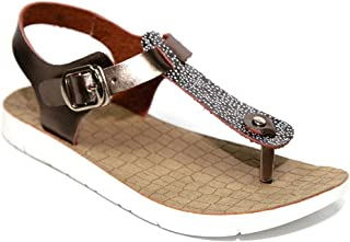 European Sizes Eva Genuine Leather T-Strap Ladies White Wedge Sandals for Women (Assorted Colors)