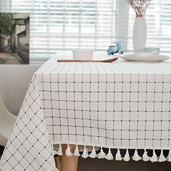 meioro Mantel Manteles de Cuadros Blancos y Azules Mantel de algodón y borlas Mantel Rectangular para Mesa de Centro(120x160cm): Amazon.es: Hogar