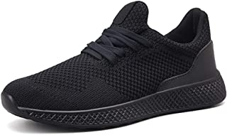 XUJW-Shoes, Athletic Shoes for Men Sports Shoes Lace Up Style Mesh Material Hollow Elastic Fly Weave Outdoor Casual Durable Comfortable Walking Shopping (Color : Black, Size : 6 UK)