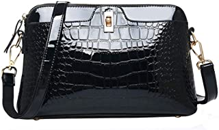 Sherry Handbag Women Fashion Alligator Shoulder Bag Patent Leather Tote Purse