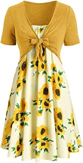 Sunhusing Women's Solid Color Short Sleeve Bow Tie Lace Up Sunflower Print Off-Shoulder Dress Set