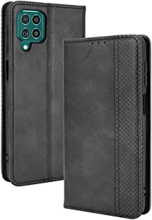 LAGUI Compatible for Samsung Galaxy M62 Case, Retro Style Wallet Magnetic Cover with Credit Card Slots and Flip Stand. black