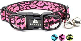 BAAPET 16''-24'' Adjustable Dog Collar with Double Security Dual D-Ring and Free Bell