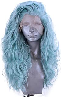 Fashion Blue Wig Mixed Color Glueless Long Wavy Middle Part Synthetic Lace Front Wigs For Women Half Hand Tied Heat Resistant 24 Inch (a)