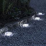 Lights4fun 4er Set LED Solar Glas Pflastersteine Wegbeleuchtung weiß klein