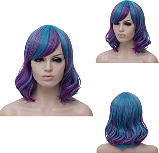 Short Mixed Bob Wig Blue and Purple Wavy Curly Women's Cosplay Costumes Hair Wigs with Air Bang Included Wig cap and Comb