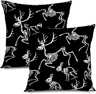 Ahawoso Set of 2 Throw Pillow Covers Square 18x18 for Great Print Pattern Tattoo Skeletons Deer Shirt Rabbits Anatomy Animals Hare Wildlife Calavera Zippered Pillowcases Home Decor Cushion Cases