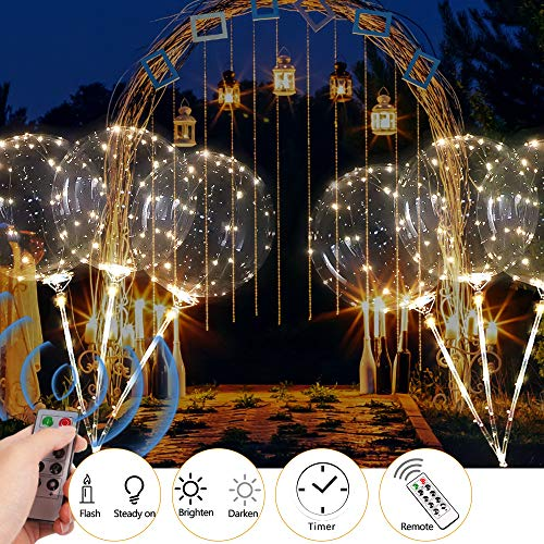 ZMunited 2 PCS Reusable LED Light Up Balloons Remote Control Timer 16.4ft/5m 50LED 18 Inch Transparent Bobo Balloon Party and Wedding Balloons Perfect for Decoration Warm White Glowing Balloons