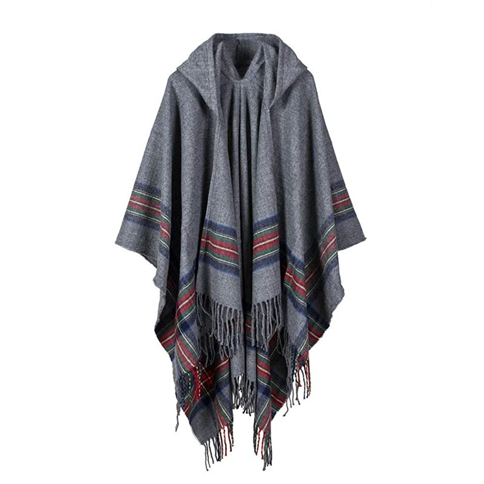 Sttech1 Women's Hooded Knit Dual Use Cloak Coat Cashmere Poncho Capes Shawl Cardigans Sweater Coat