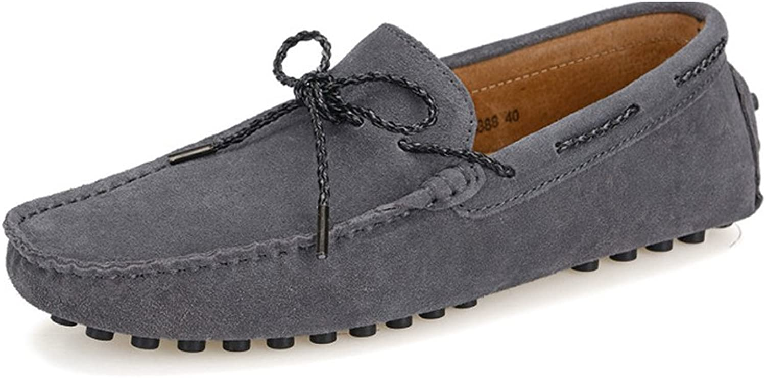 Z.L.F Men's Driving shoes Penny Loafers Suede Genuine Leather Boat Moccasins Rubber Studs Sole Oxford shoes